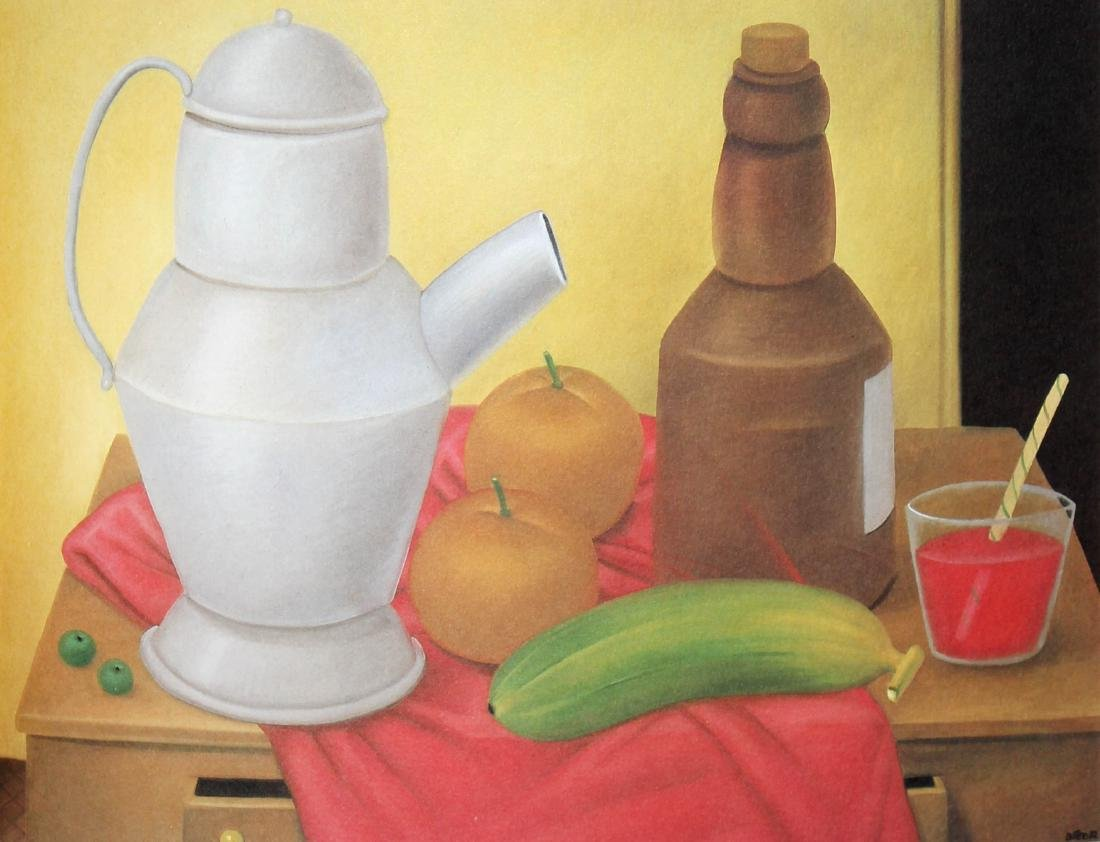 Fernando Botero (after) - Still-life with Brown Bottle