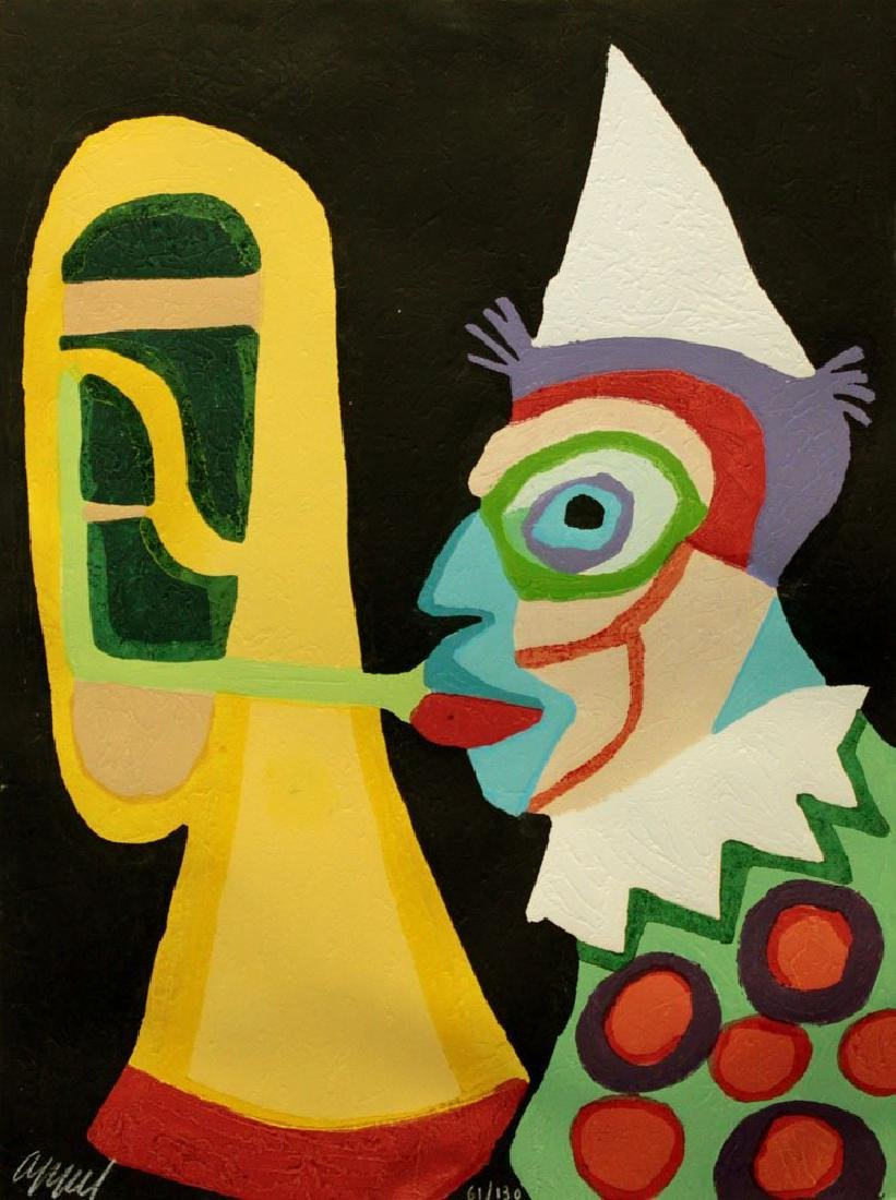 "Karel Appel ""Clown d' Amsterdam"" Orig Woodcut Hand Sig."