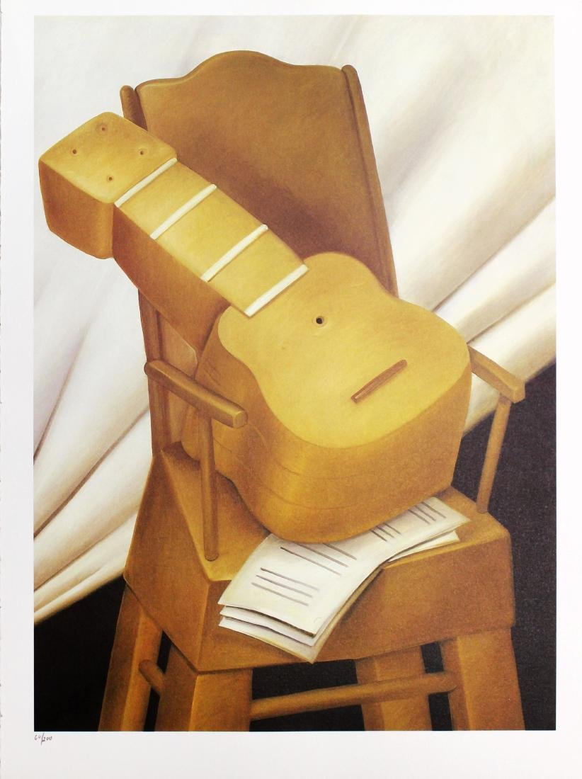 Fernando Botero (after) - Guitar and Chair
