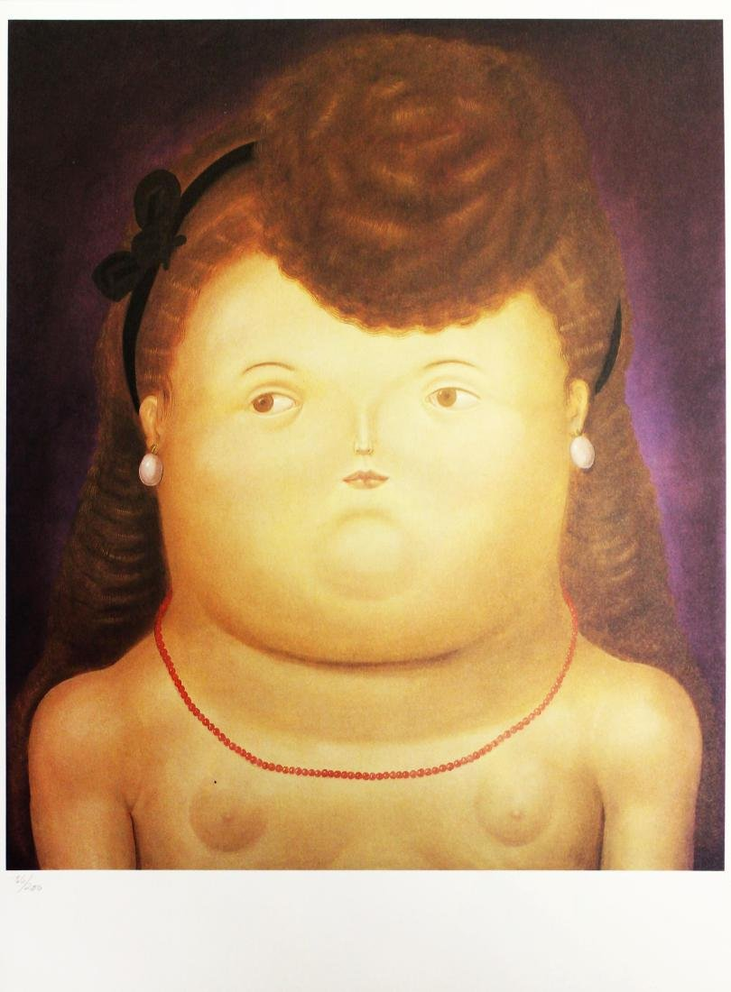Fernando Botero (after) - Girl with a Bow
