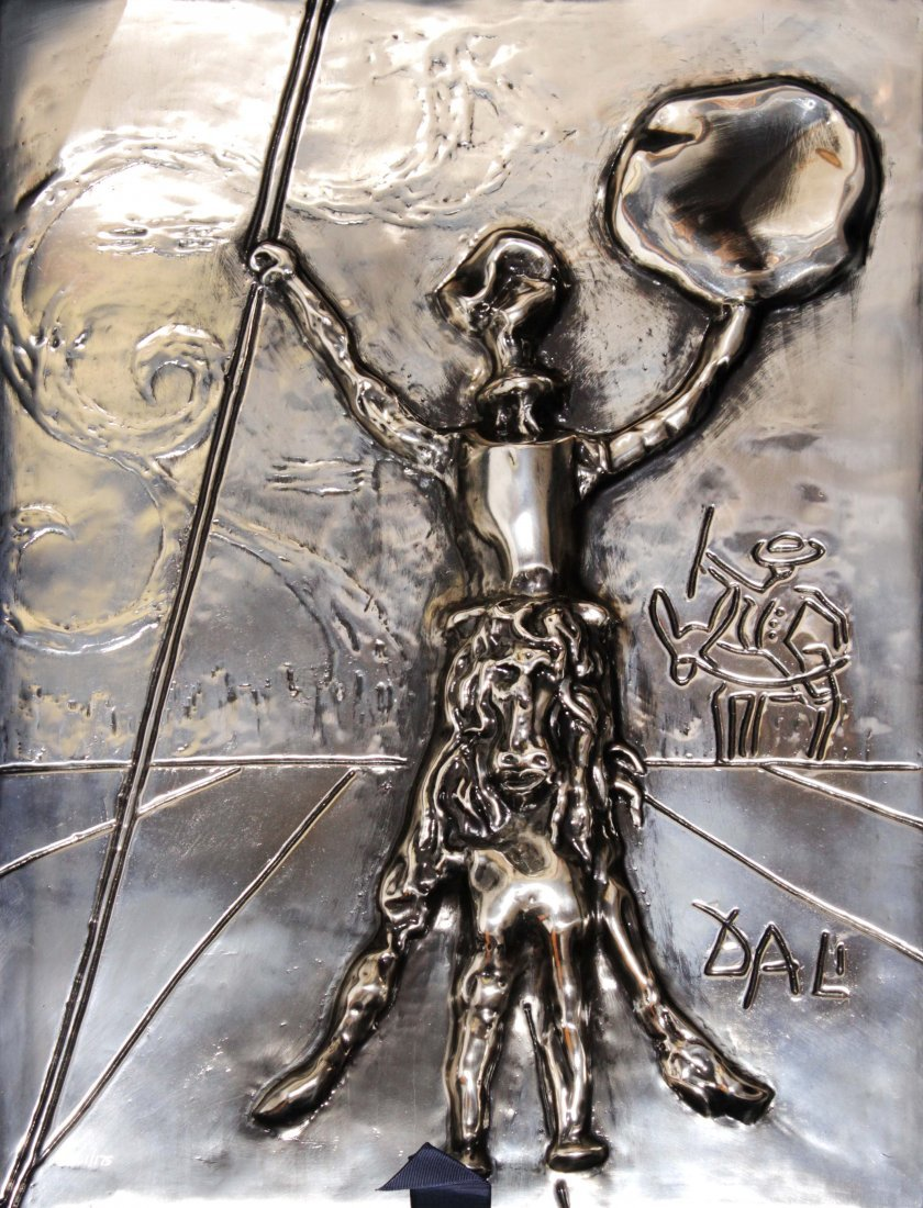 Salvador Dali - Don Quixote Silver Patina Sculpture