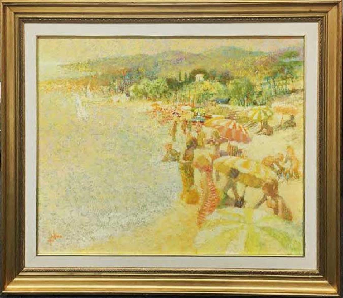 "Louis Fabien Original Oil ""Untitled (Beach Scene)"""