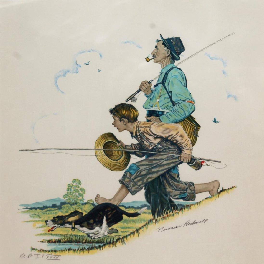 Norman Rockwell - Grandpa and Me: Fishing