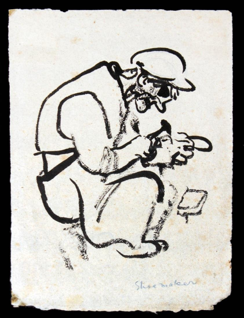 "William Gropper - ""Shoemaker"" Original Drawing"