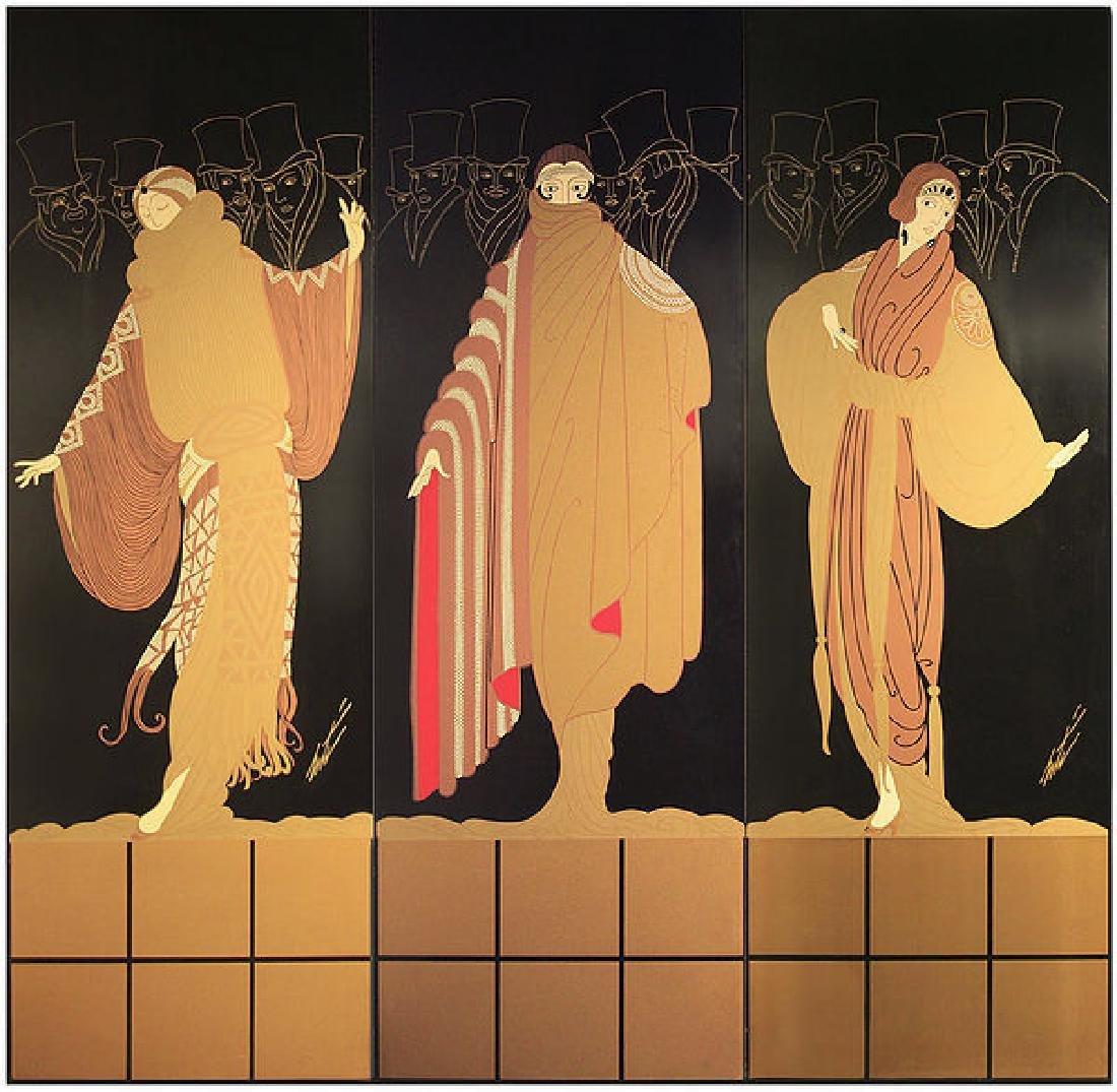 Erte - Three-Panel Screen