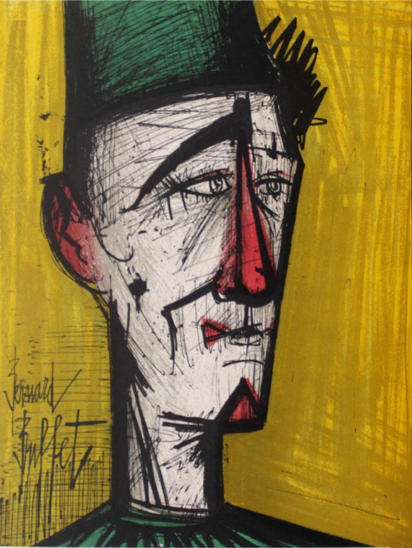 Bernard Buffet - Clown on Yellow Background