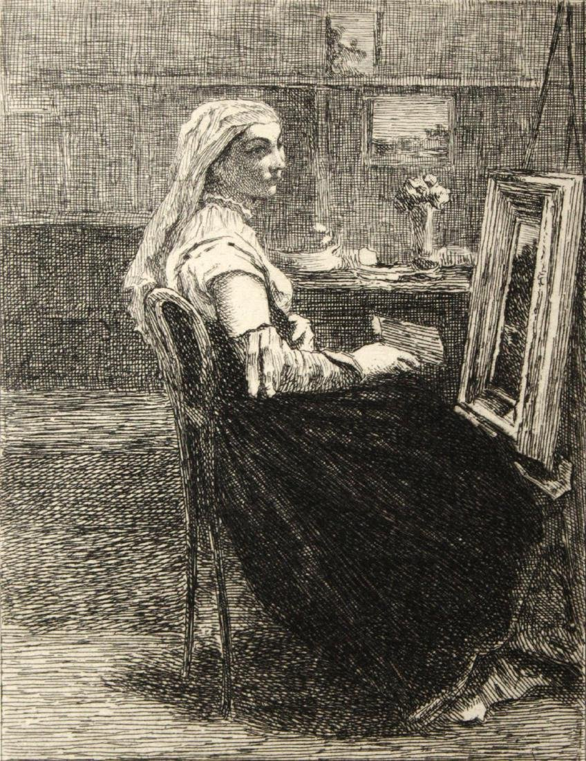 Corot (After) - Femme Assise Devant Un Chevalet