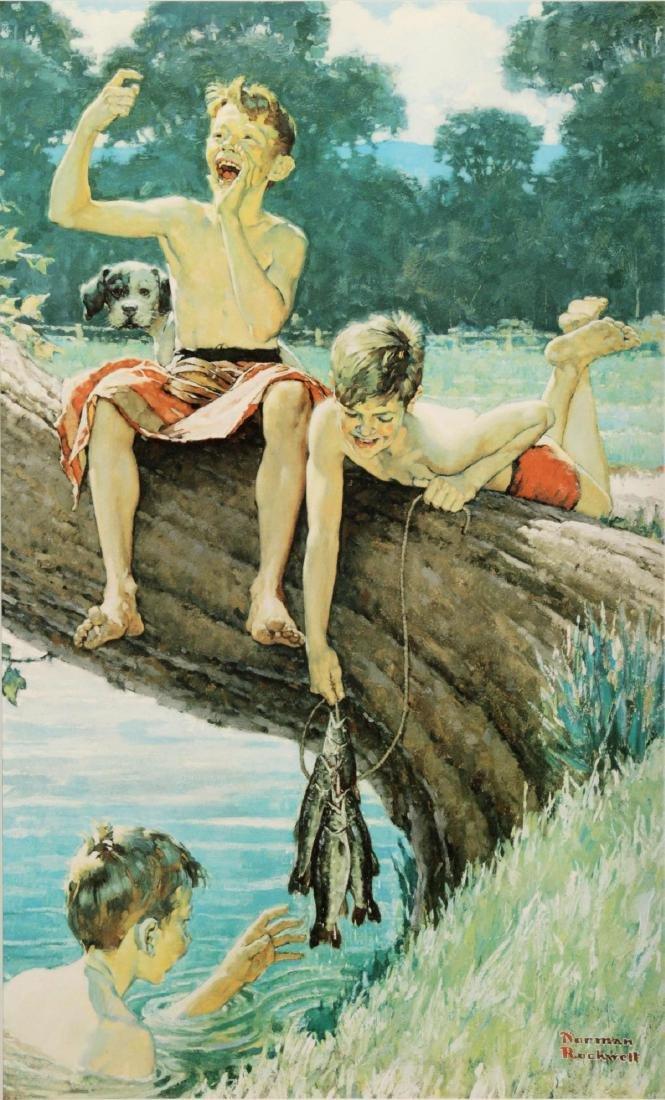 Norman Rockwell - Three Boys Fishing