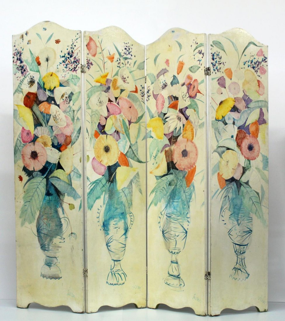 Charles Levier - Hand Painted Four Panel Wood Screen