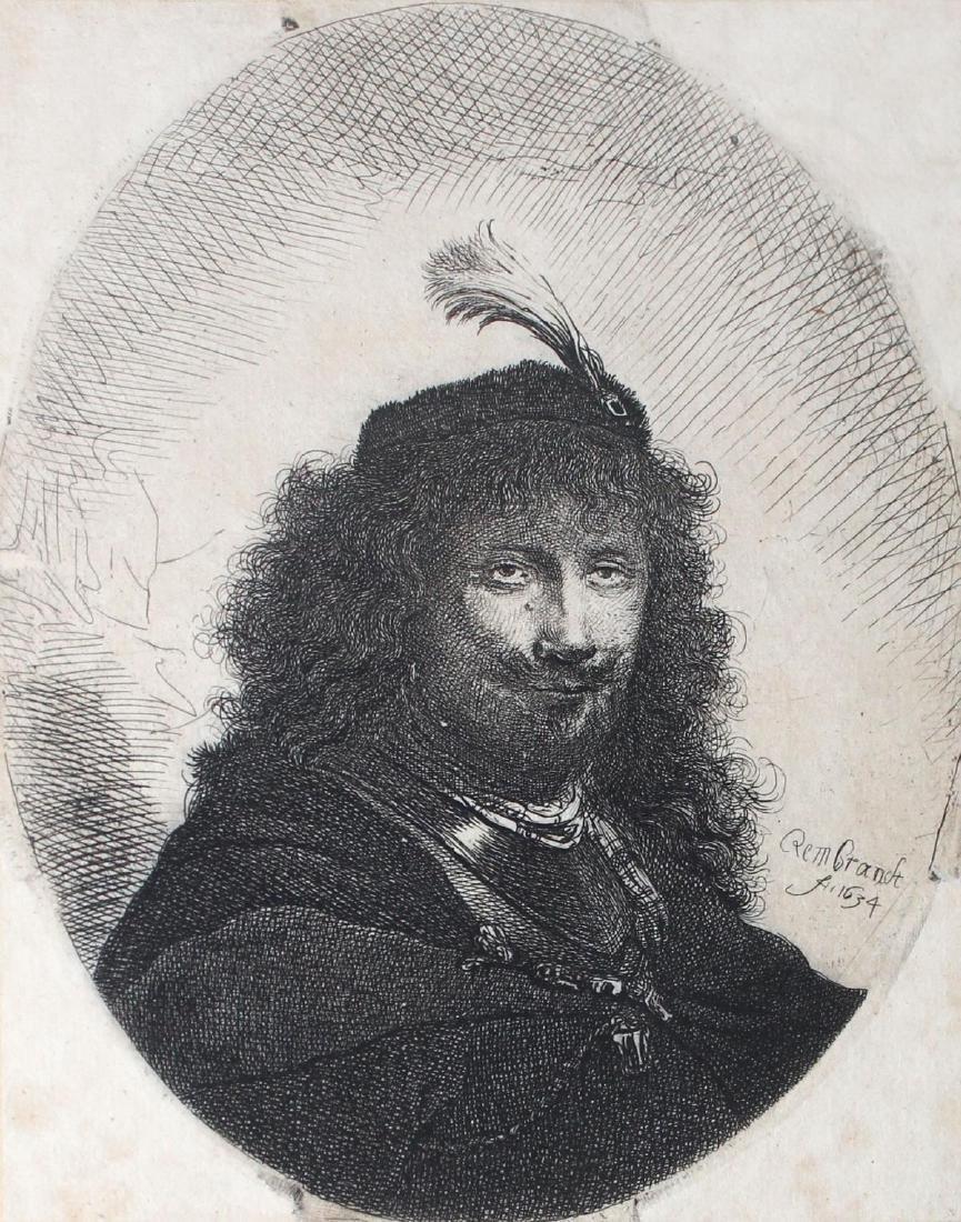 Rembrandt van Rijn - Self Portrait with Plumed Cap and