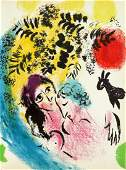 Marc Chagall - Lovers with Red Sun