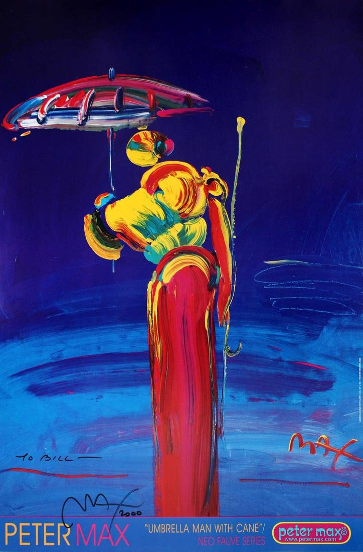 Peter Max - Umbrella Man with Cane