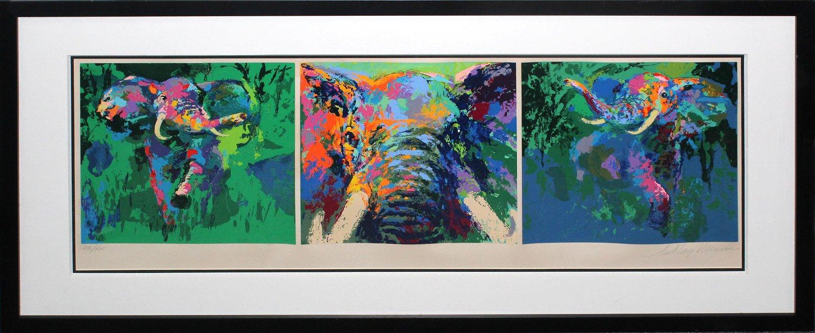 LeRoy Neiman - Elephant Tryptych