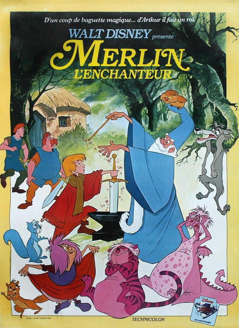 Vintage Poster - French Walt Disney Merlin Poster