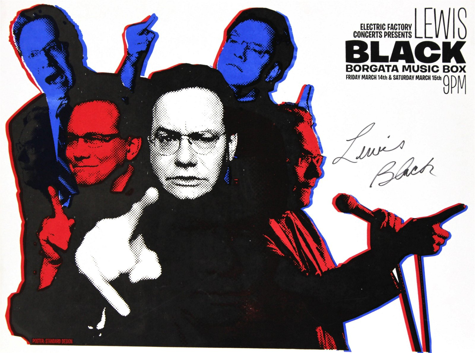 Lewis Black - Black Borgata Music Box Signed Poster