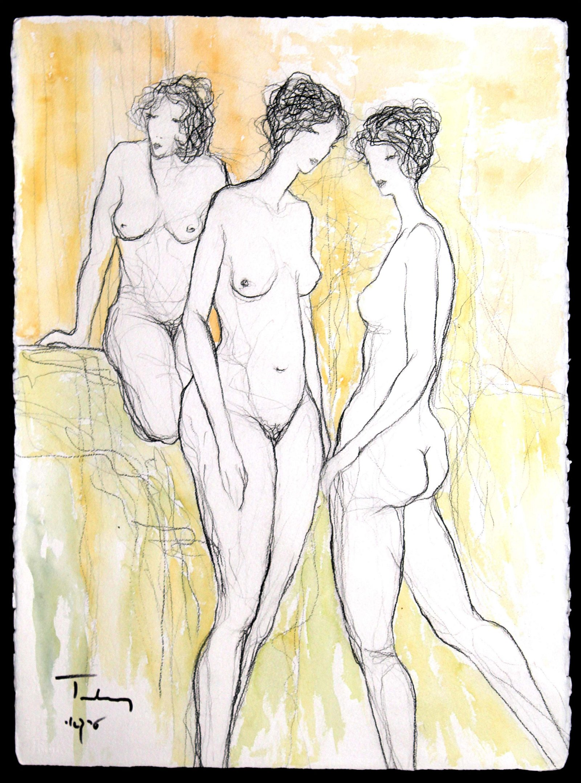 Itzchak Tarkay - Three Nudes Monumental Watercolor