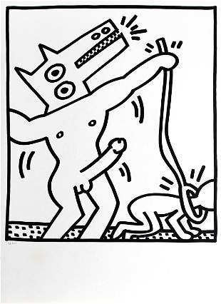 Keith Haring - Dog Walking Man (from Lucio Amelio