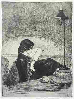 James McNeill Whistler - Reading by Lamplight (First