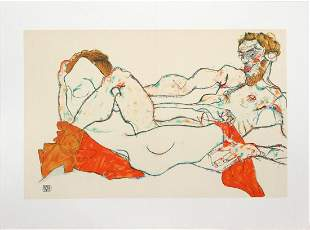 Egon Schiele (After) - Reclining Male and Female Nude