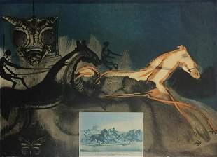 Salvador Dali - American Trotting Horses II