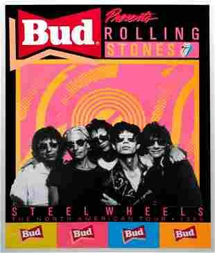 Vintage Poster - Rolling Stones Budweiser Steel Wheels