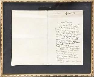 Camille Pissarro - Hand Written Note