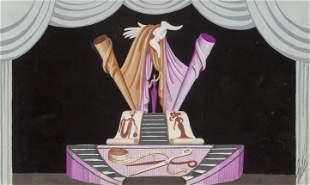 Erte - Untitled Original Gouache (Purple Stage Set)