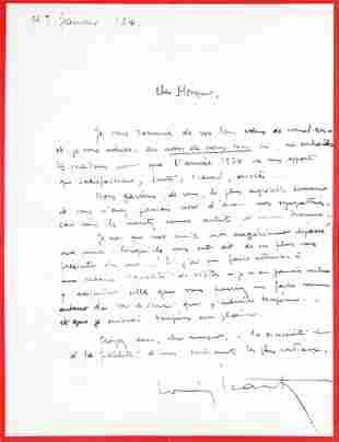 Louis Icart - Original Handwritten Letter