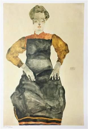 Egon Schiele  (After) - Girl Sitting in Black Apron