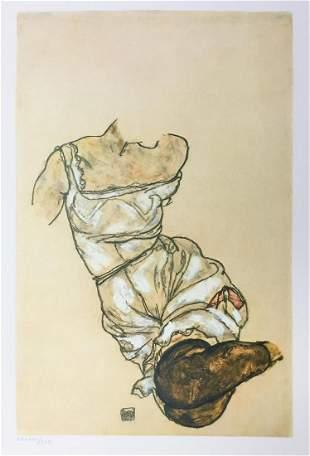 Egon Schiele  (After) - Torso in Petticoat and Black
