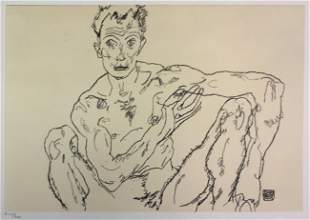 Egon Schiele (After) - Nude Man Crouching