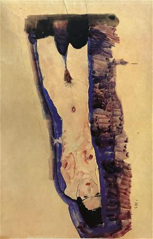 Egon Schiele (After)  - lying naked with black