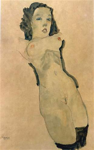 Egon Schiele (After) - lying naked with black stockings