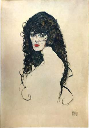 Egon Schiele (After) - Black-haired woman 1914