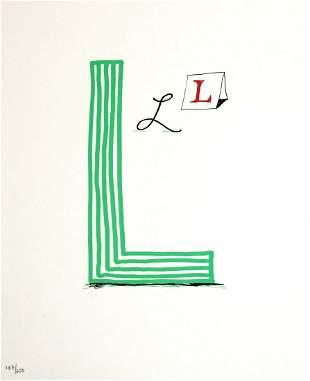 """David Hockney - Letter L from """"Hockney"""