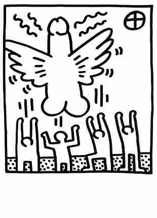 Keith Haring - Cock Angel (from Lucio Amelio Suite)