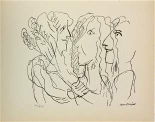 """Marc Chagall - Untitled (Three Figures) from """"Le Dur"""