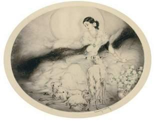 Louis Icart - La Dame Aux Camelias (Borzois)