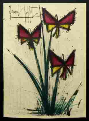 Bernard Buffet - Pensees (Red and Yellow Flowers)