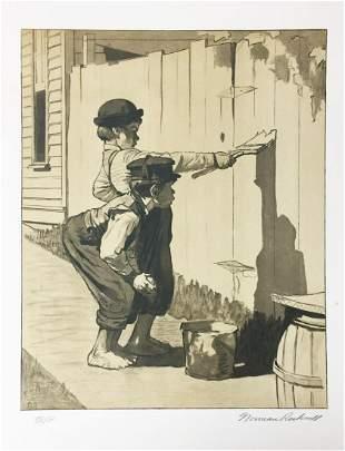 Norman Rockwell - Whitewashing the Fence