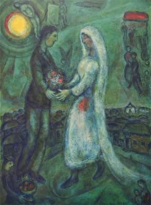 Marc Chagall - Fiances sur Fond Vert