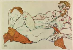 Egon Schiele (After) - Lovers Embracing