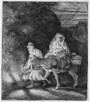 Rembrandt van Rijn (after) - The Flight into Egypt: a