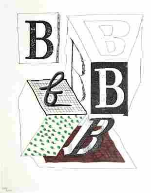 """David Hockney - Letter B from """"Hockney"""