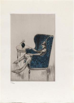 """Louis Icart - The Blue Chair from """"L'ingenue Libertine"""""""