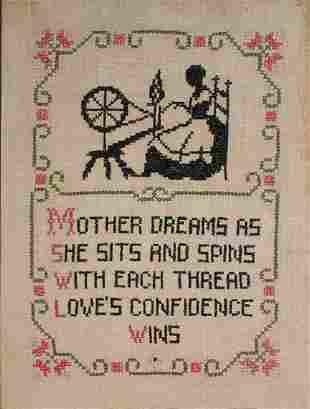 """Unknown Artist - Antique Folk Art """"Motto Sampler"""""""