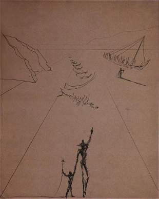 """Salvador Dali - Untitled from """"The Old Man and the Sea"""""""