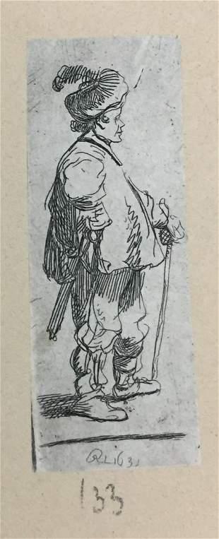 Rembrandt van Rijn - Polander Standing with His Stick