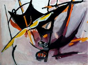Edouard Pigon Gouache Painting in Gold Leaf Frame