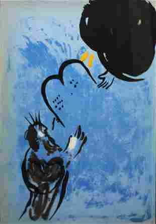 Marc Chagall - Moses Receiving the Tablets of the Law